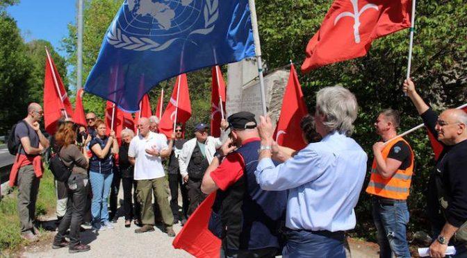 Bewegung Freies Triest demonstriert an der Staatsgrenze zwischen Triest und Italien